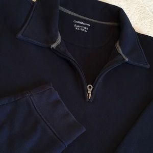 Men's sweatshirt/pullover with neckline zipper